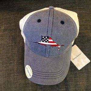 🆕 Tommy Bahama Patriotic Marlin Logo Trucker Hat